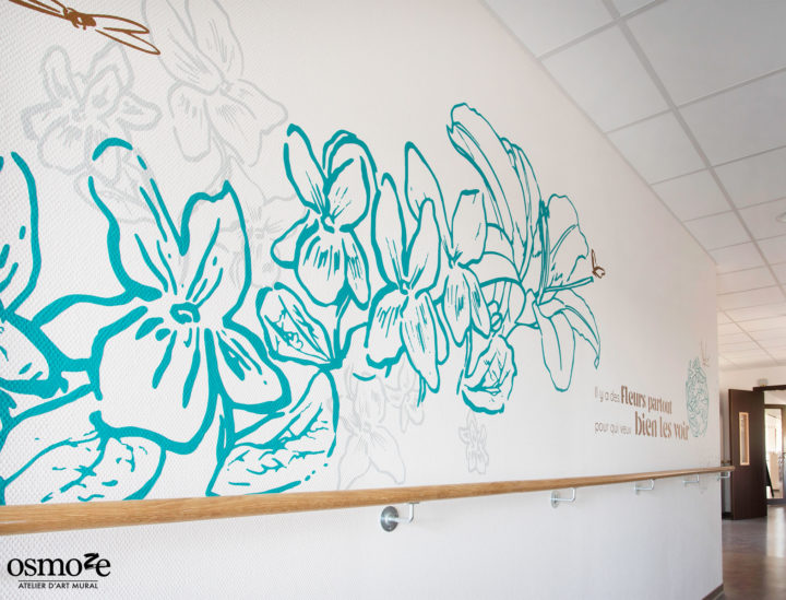Fresque murale couloir > EHPAD Les hortensias