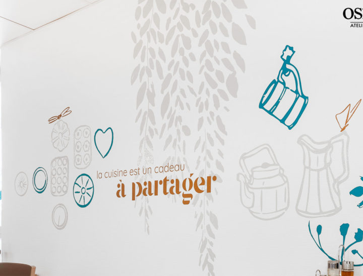 Fresque murale EHPAD > Les hortensias