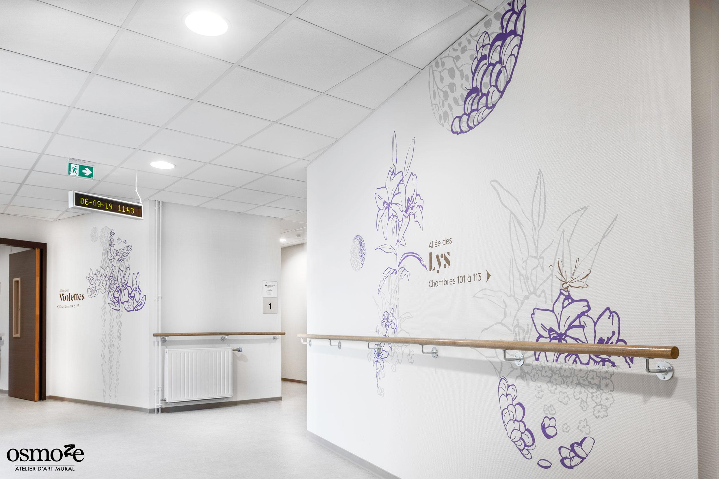 Signalétique couloir > EHPAD Les Hortensias