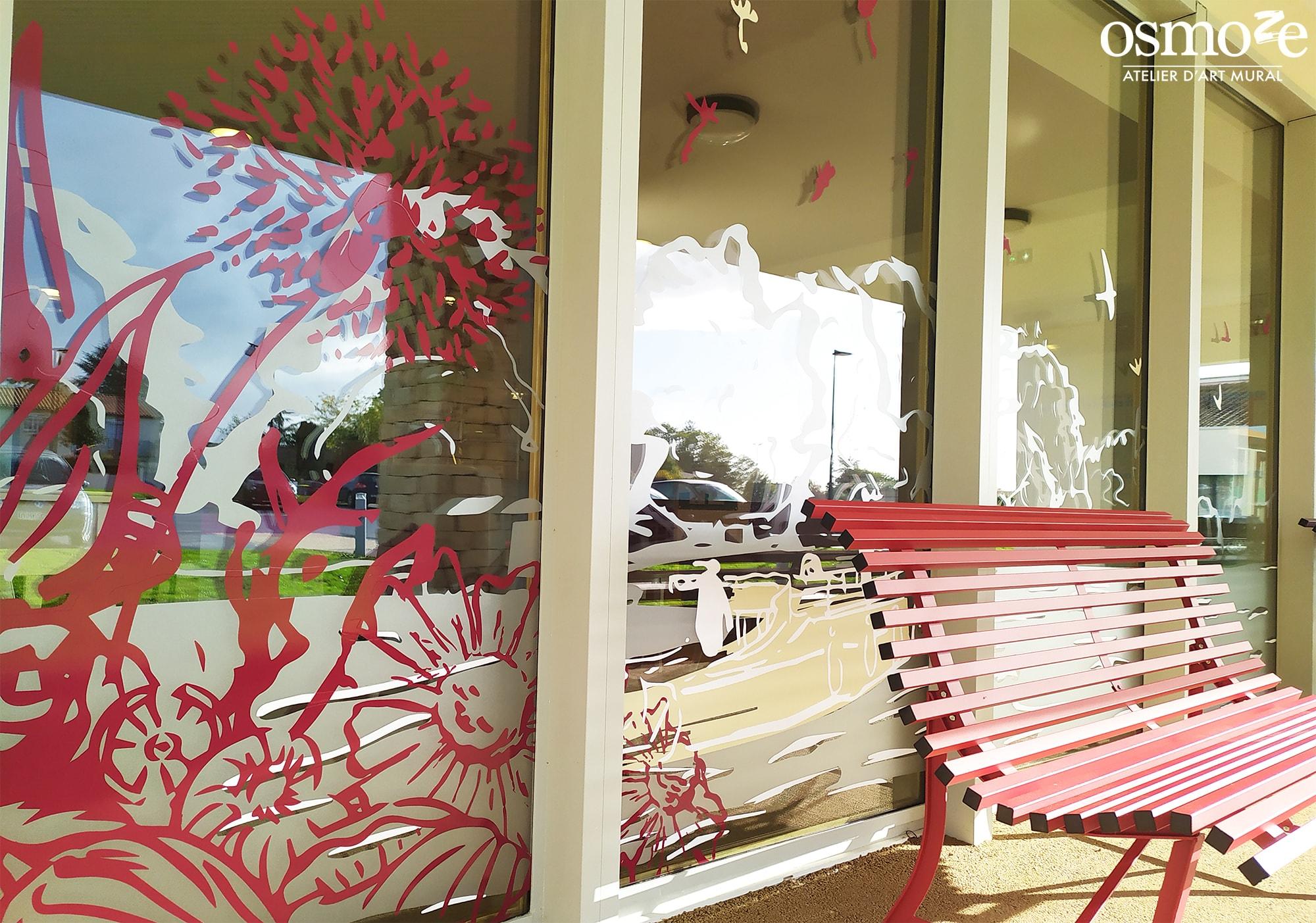 Vitrophanie décorative d'accueil > Ehpad Emilien Bouin