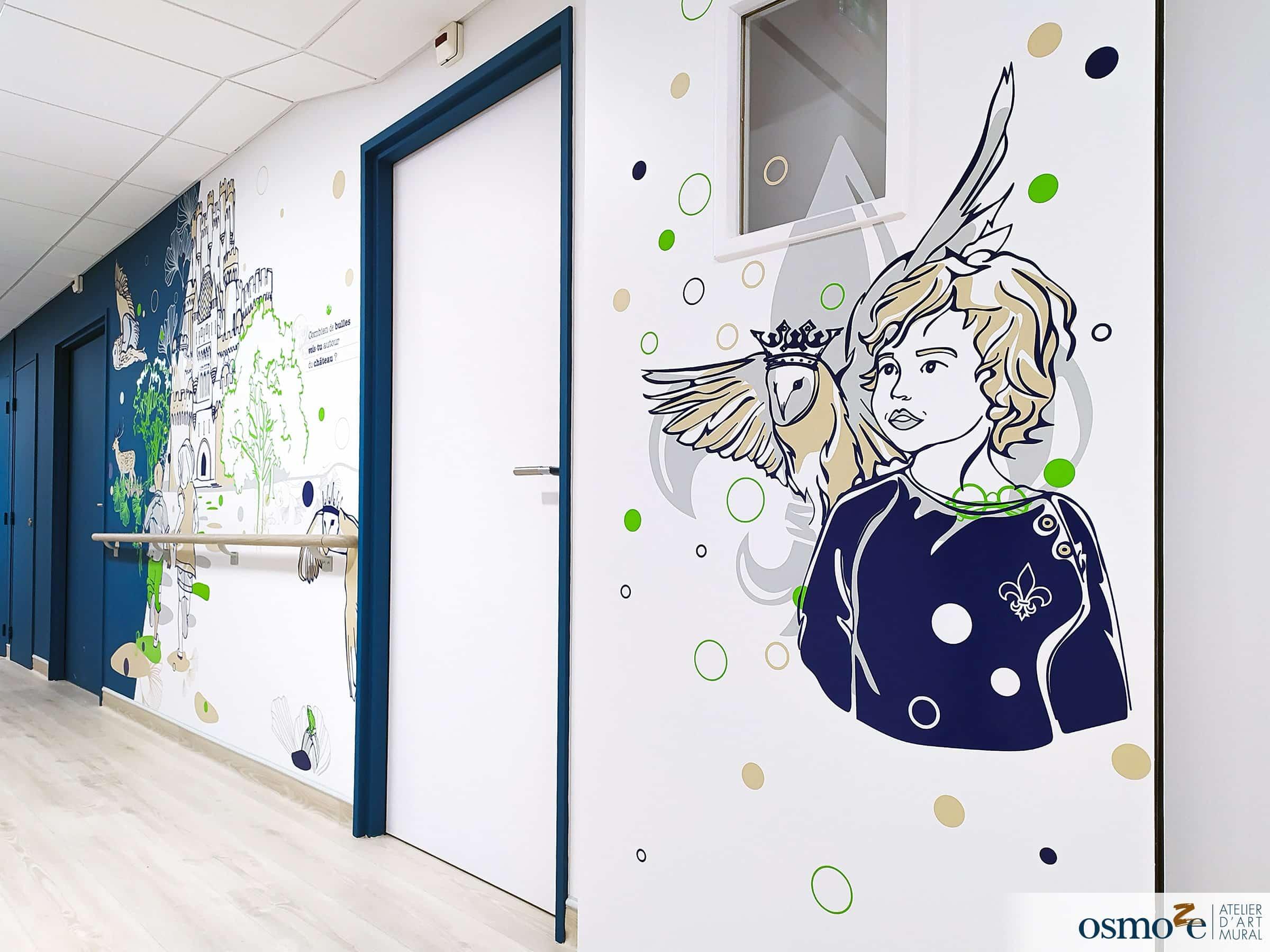 Décoration portes coupe-feu hôpital enfants > CHU Dijon