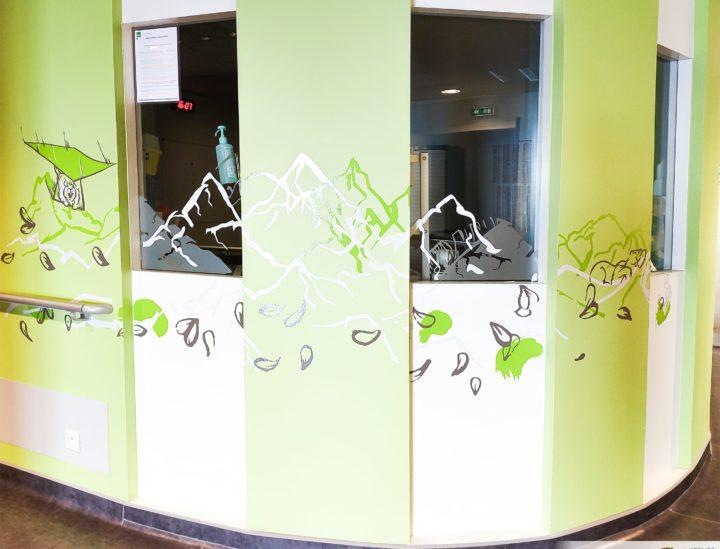 Design mural et vitrophanie hôpital enfants > MGEN