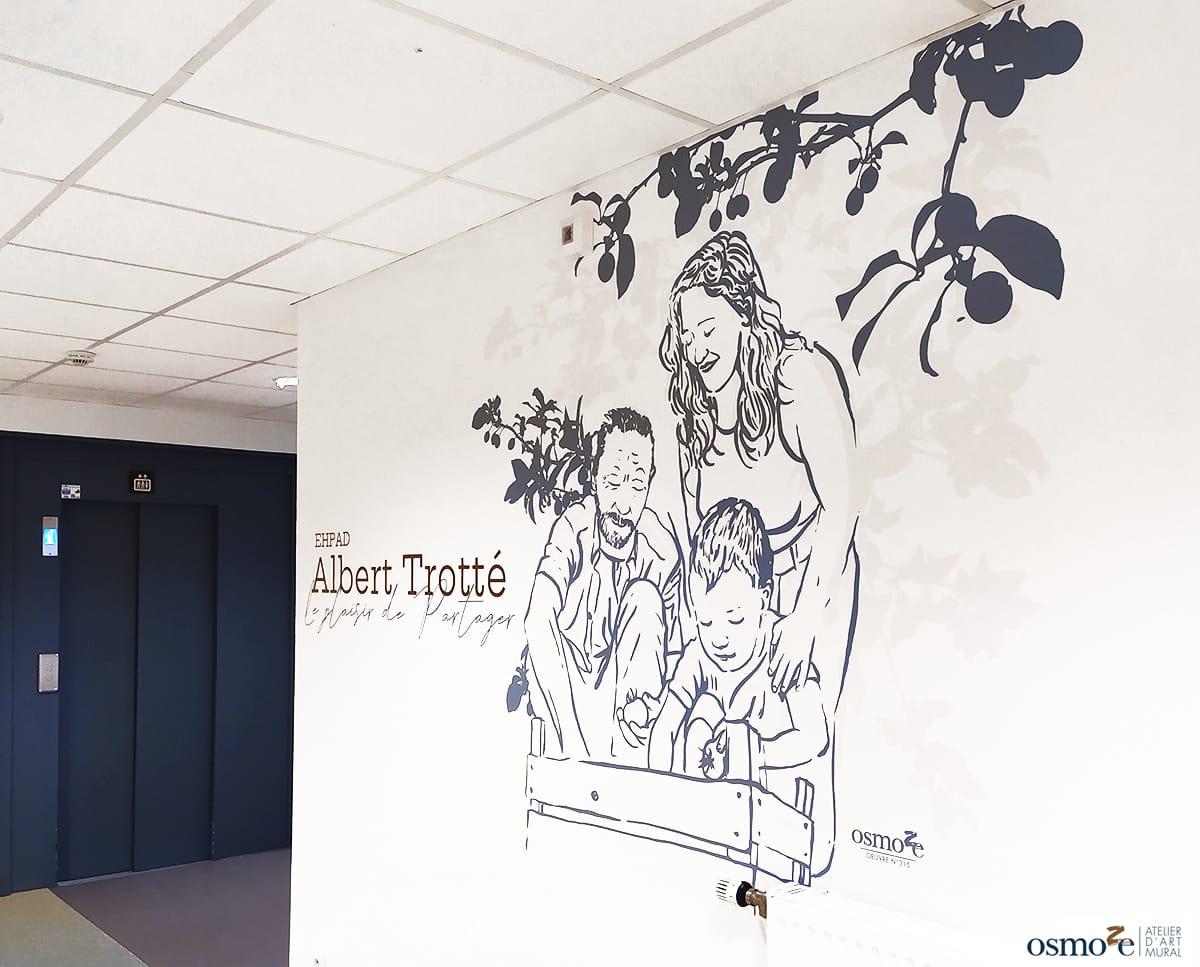 Décorations murales, signalétiques et vitrophanies végétales pour l'EHPAD Albert Trotté