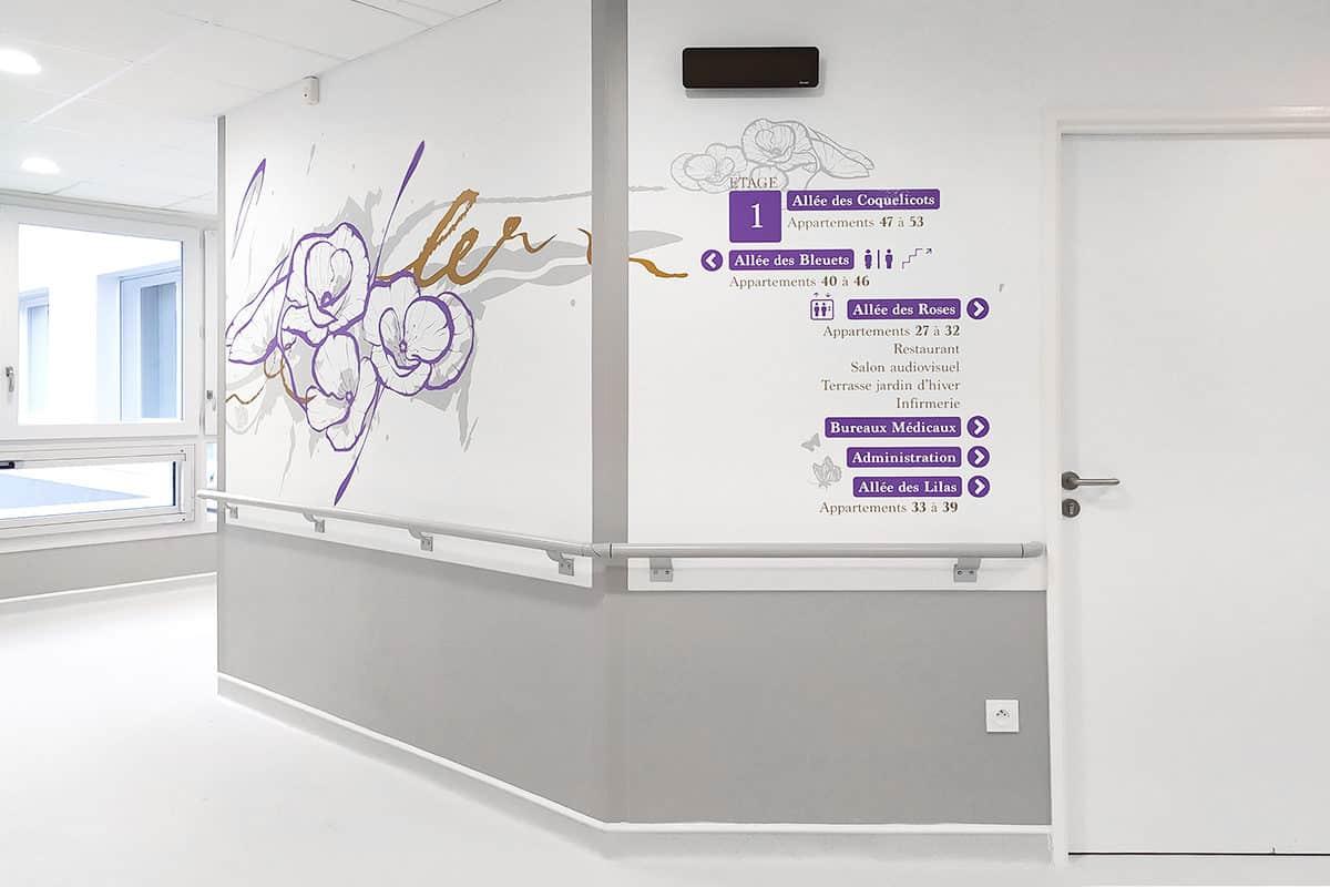 Décorations murales et signalétiques fonctionnelles à l'EHPAD Le Cornillon (01)