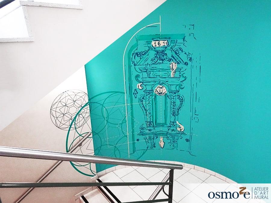 Décorations murales et vitrophanies modernes illustrant le patrimoine architectural – Mairie de Molsheim (67)