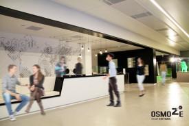 Décoration murale > Entrée Siège Euronews Lyon > Mapmonde et enseigne Plexi blanc > Monumental