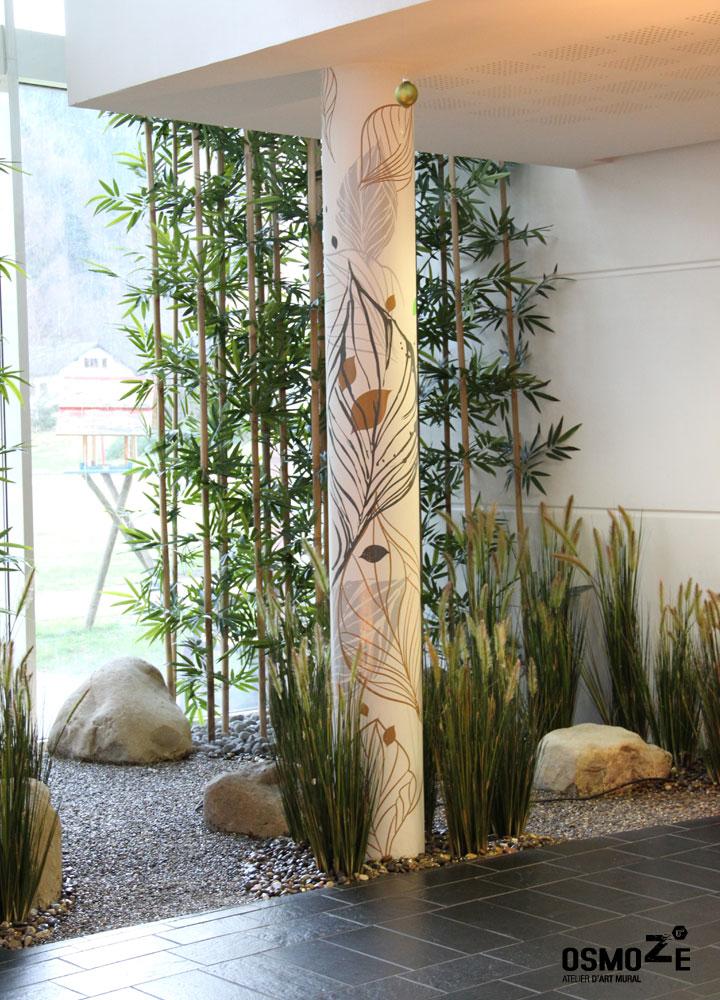 Décor Mural Ehpad > Hall Accueil > Décoration Poteau > Végétale et florale