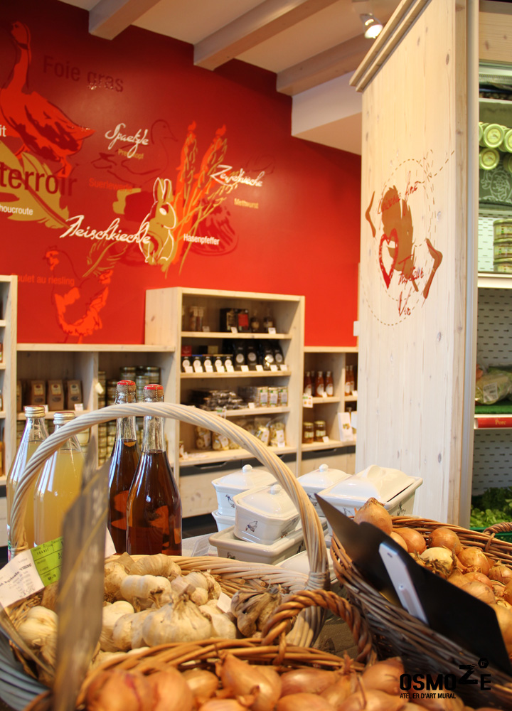 Décoration Murale & Signalétique Design > Boutique Ferme > Décor Fresque Graphique > Foie Gras et Vins Fins > Molsheim
