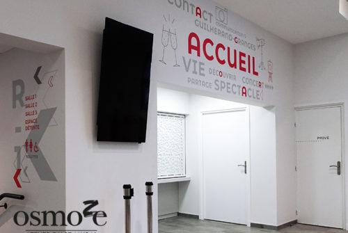 Décoration murale et signalétique artistique > Signalétique décorative > Décoration et signalétique murale design> Agora Guilherand Granges > Accueil