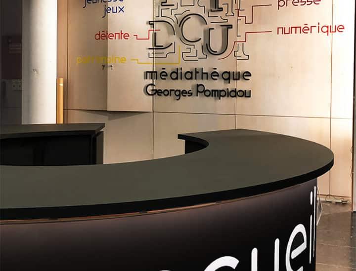 Signalétique artistique - décoration murale - Médiathèque Georges Pompidou by Osmoze