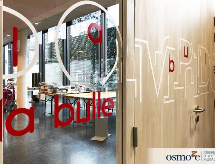 Signalétique artistique - décoration murale - vitrophanie - Médiathèque Georges Pompidou by Osmoze