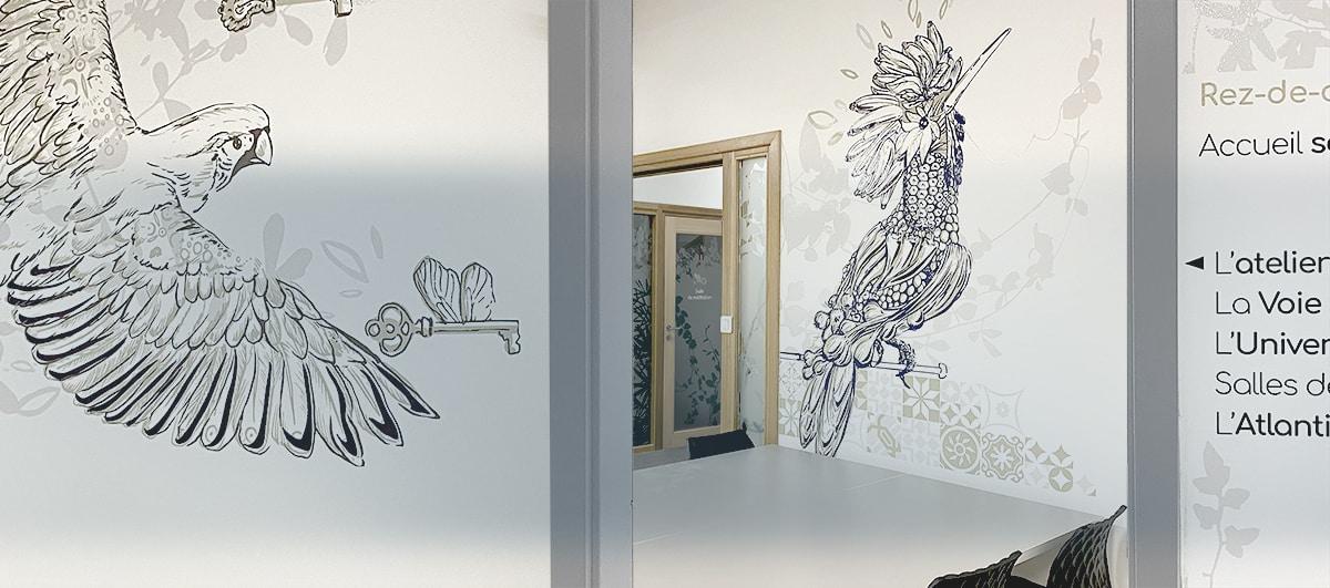Décoration murale , signalétique et vitrophanie - Réseau ODE by Osmoze