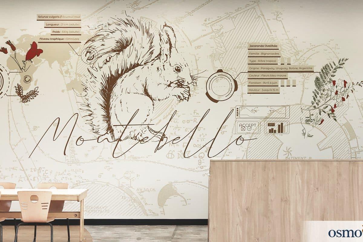 Design mural au restaurant, fenêtre graphique sur la nature environnante – CROUS de Nice (06)